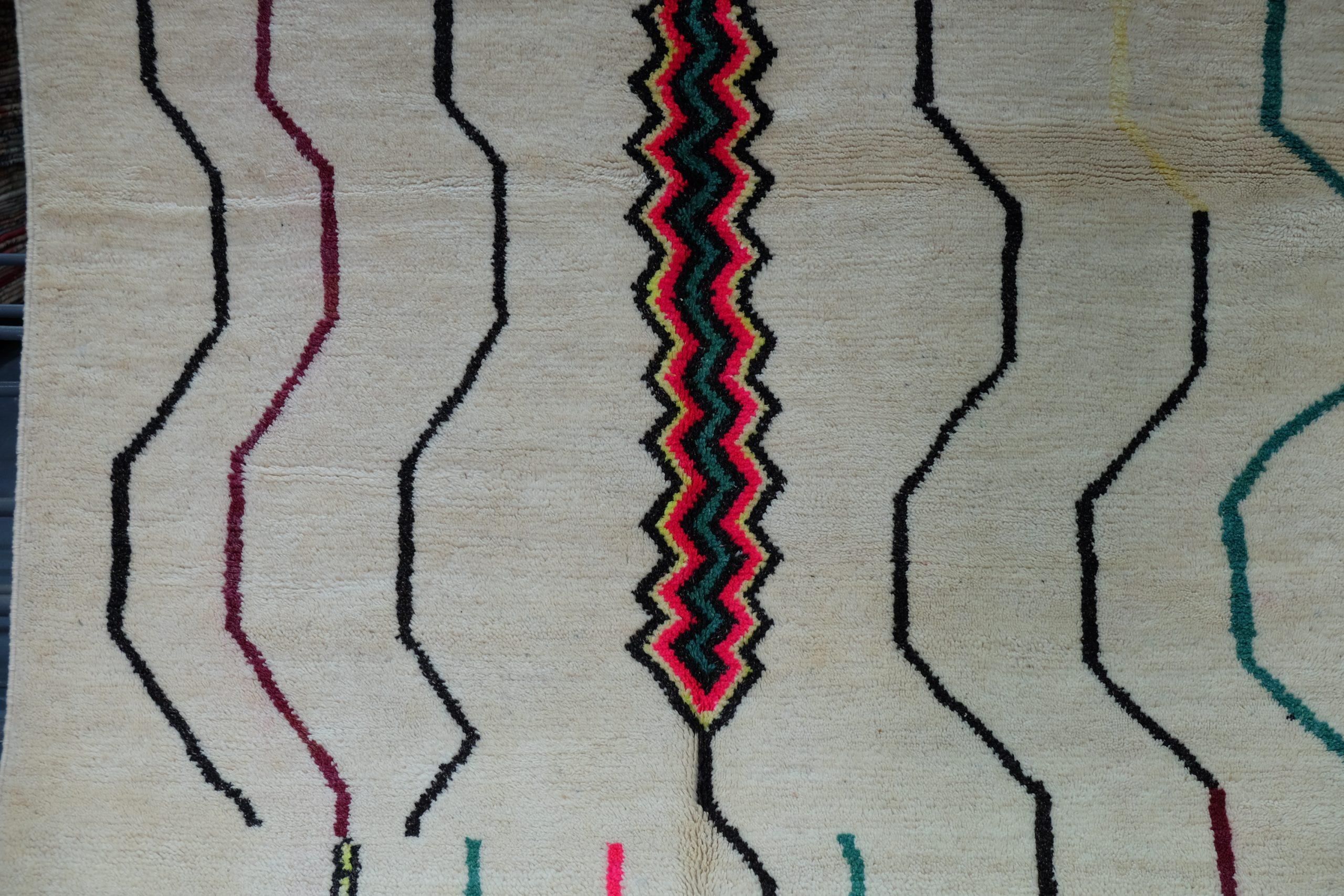 Handmade Geometric Mrirt Colored Rug 10.6 ft x 6.65 ft