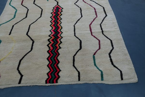 Handmade Geometric Mrirt Colored Rug 10.6 ft x 6.65 ft