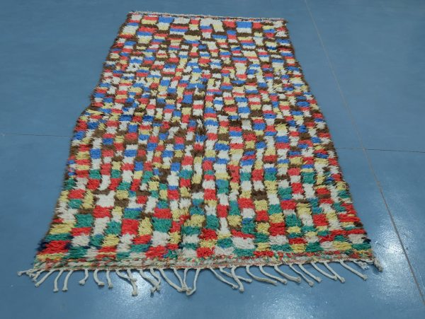 Colored Azilal rug from Morocco 9.28 ft x 4.06 ft