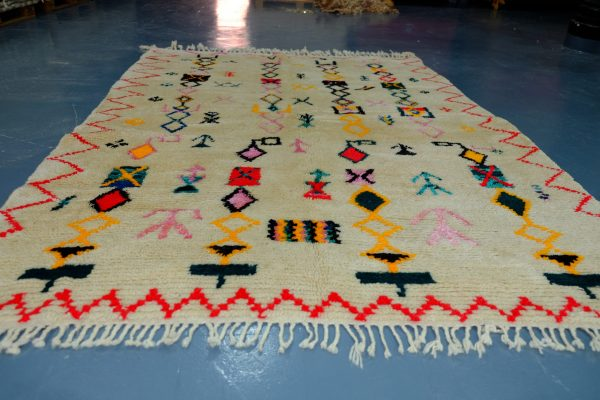 Colored moroccan berber rugs 7.64 ft x 5.38 ft