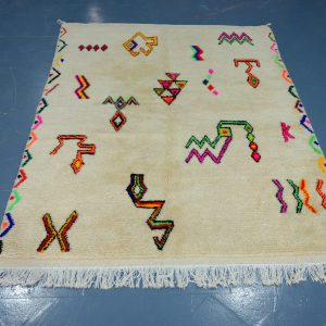 Colored berber rugs  6.39 ft x 4.98 ft