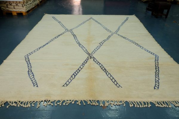 Beni Ourain rugs white & blue 12.30 ft x 10.40ft