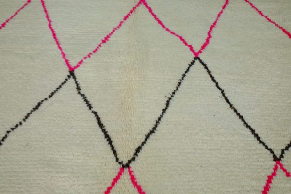 Black & pink Beni Ourain rug 7.54 ft x 4.98 ft