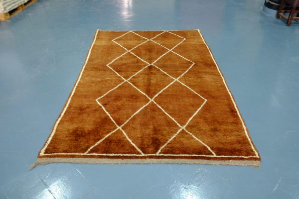 Brown Beni Ourain rug 7.74 ft x 4.98 ft