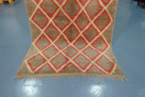 Small Colored brown and red Beni Ourain rugs 8.06 ft x 4.69