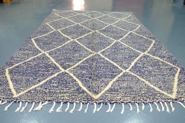 Blue Beni Ourain rug handmade 7.80 ft x 4.78 ft