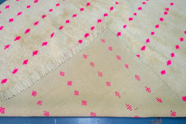Pink Handwoven Moroccan Beni Ourain Rug 8.39 ft x 5.47 ft