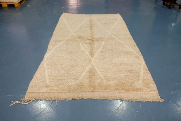 Brown small Beni Ourain rug 8.69 ft x 5.24 ft