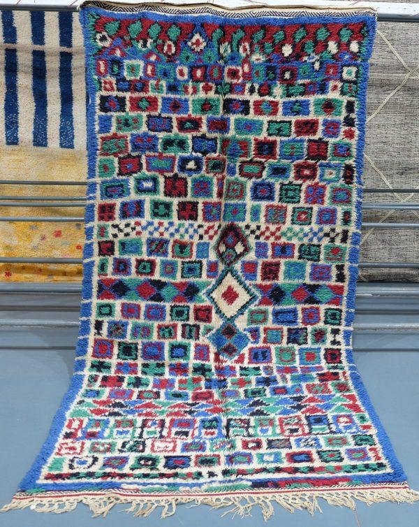 Vintage Colored Azilal rug 8.66 ft x 4.65 ft