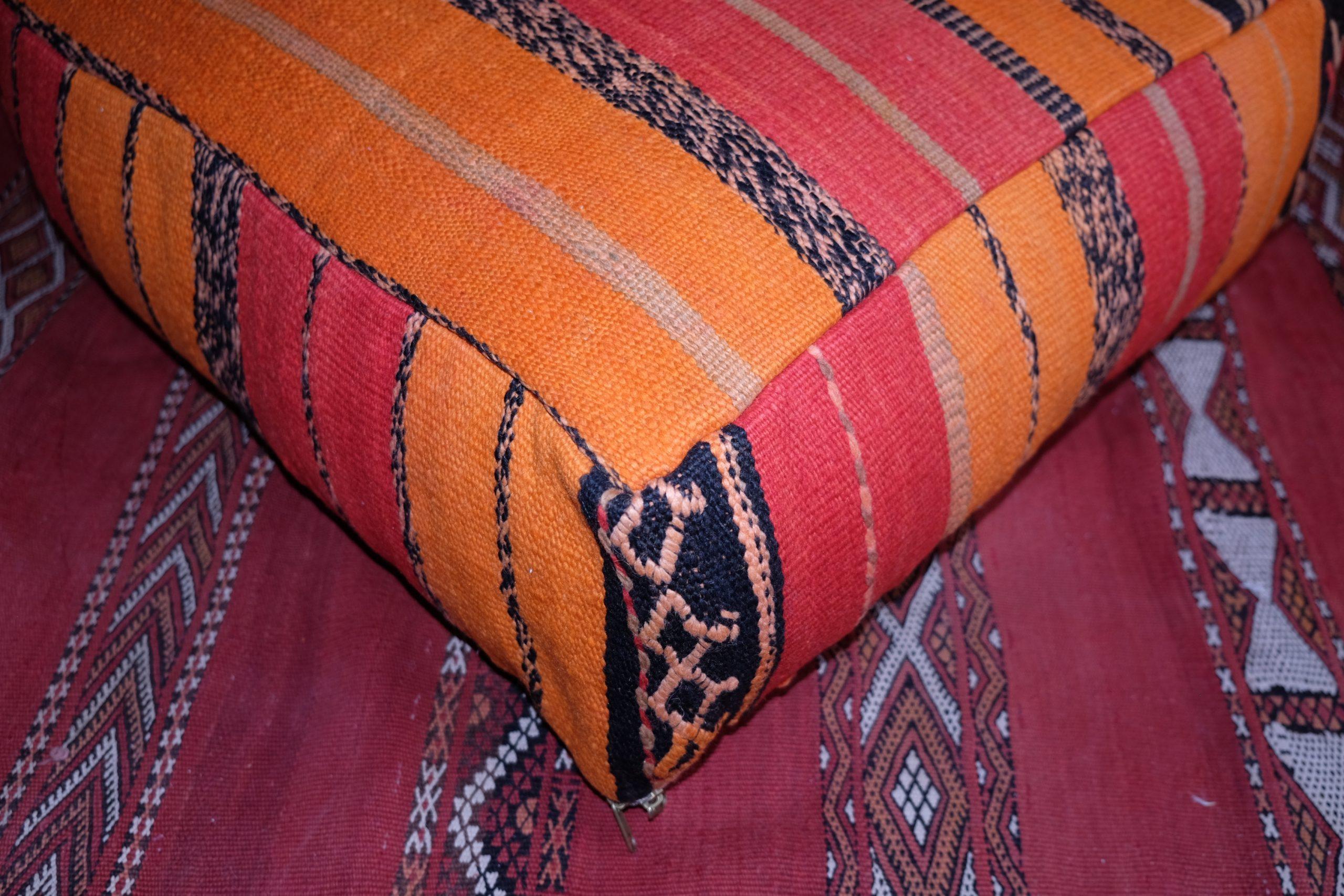 Shop square kilim Handmade Moroccan pouf