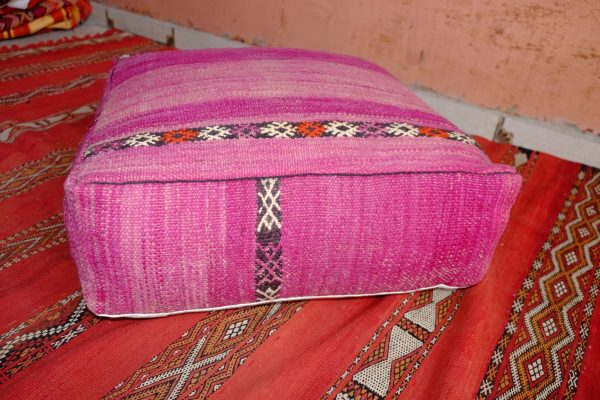 Pink Moroccan Handmade Leather Pouf