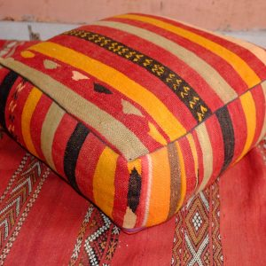 Beautiful square kilim Handmade pouf from Morocco