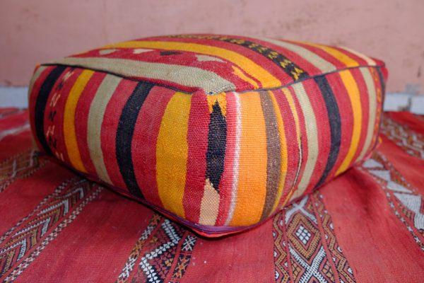 Beautiful square kilim Handmade pouf from Morocco