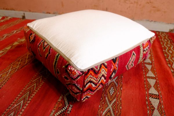 Embroidered Leather Moroccan Pouf