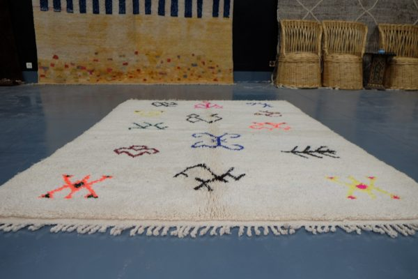 Small Colored Moroccan Azilal rug, 7.54 ft x 5.08 ft