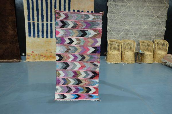 Beautiful Kilim Boucherouite rug 6.56 ft x 3.14 ft