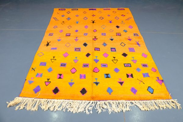 Yellow Moroccan Azilal rug 8.13 ft x 4.92 ft