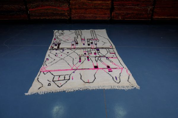 Small Geometric Moroccan Azilal rug 8.46 ft x 4.69