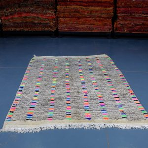 Small Handmade colored moroccan rugs 5.90 ft x 4.78 ft