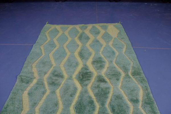 Green Beni ourain rugs 7.70 ft x 4.85 ft