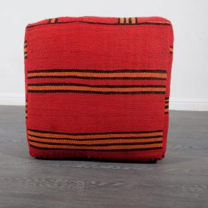 "Red Moroccan Pouf, 24"" x 24"" x 8"""