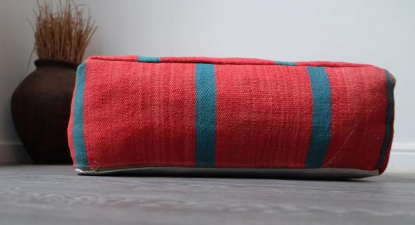 """Red Moroccan Pouf, 24"""" x 24"""" x 8"""""""