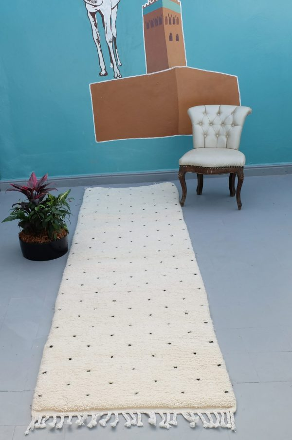 Beautiful Beni ourain runner rug 9.44 ft x 2.69 ft