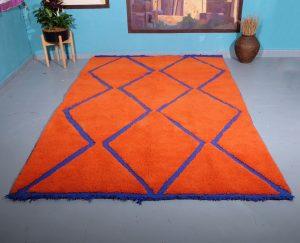 Orange beni Ourain rug 9.84 ft x 6.23 ft
