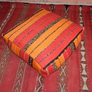 "Red & Pink Moroccan pillow - Handmade Square Kilim Pouf 23"" x 23"""