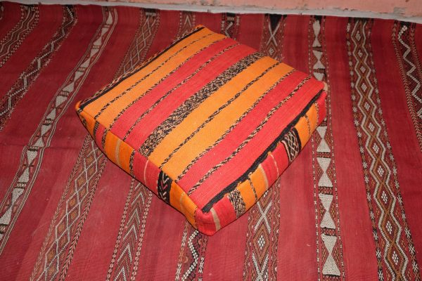 """Red & Pink Moroccan pillow - Handmade Square Kilim Pouf 23"""" x 23"""""""
