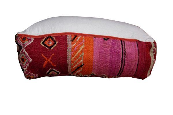 """Red square Moroccan Pillow pouf kilim 23"""" x 23"""" x 8"""""""