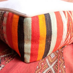 "2 Square Pillow pouf kilim 23"" x 23"" x 8"""