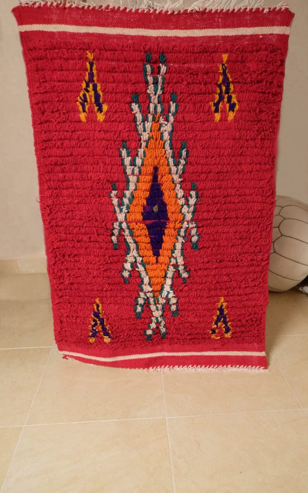 2 Red azilal small rugs, 4.03 ft x 2.62 ft