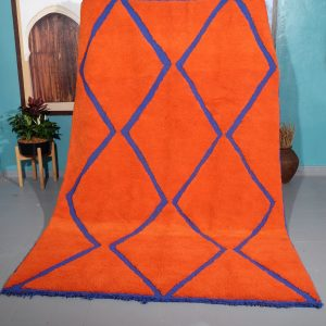 Orange beni Ourain rug 9.84 ft x 6.23 ft