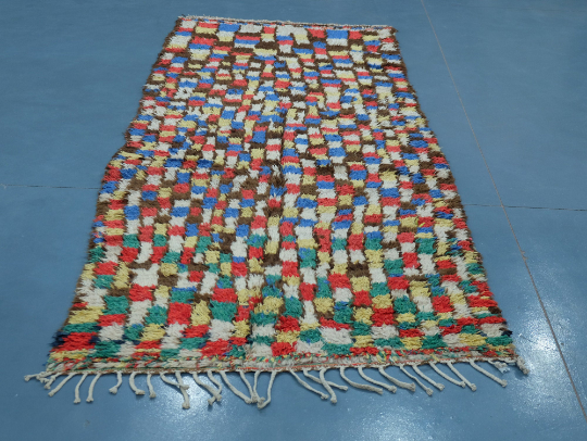 Moroccan rug square patterns : Handmade rug 9.28 ft x 4.06 ft
