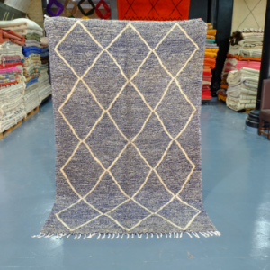 Blue beni Ourain rug 7.8 ft x 4.78 ft