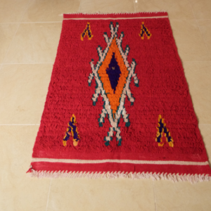 Red small moroccan rug, 4.03 ft x 2.62 ft