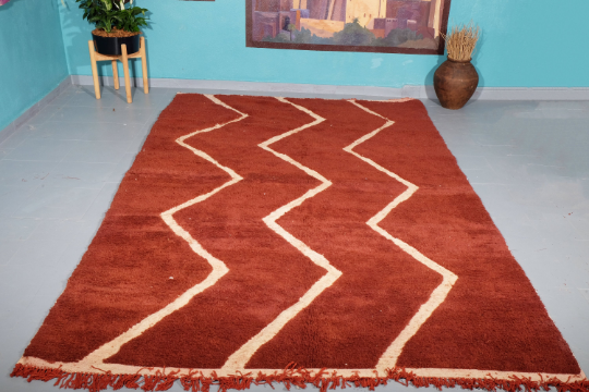 Brown beni Ourain rug 9.94 ft x 6.29 ft