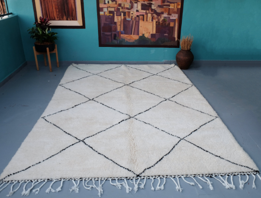 Moroccan beni Ourain rug 9.84 ft x 7.02 ft