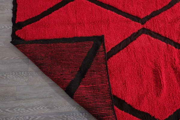 Red beni Ourain rug 9.94 ft x 6.75 ft
