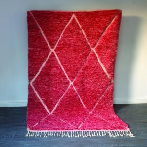Red beni Ourain rug 8.10 ft x 5.08 ft