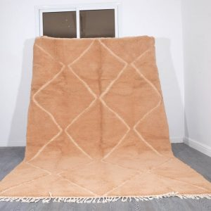Solid Moroccan rug peach 9,67 ft x 6.4 ft